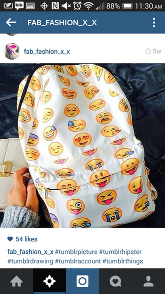 bag emoji print white backpack