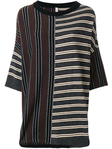 Antonio Marras - striped panel knitted sweater - women - Nylon/Viscose/Angora/Virgin Wool - XS, Nylon/Viscose/Angora/Virgin Wool