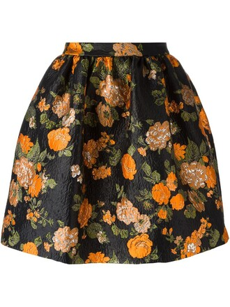 skirt jacquard floral black