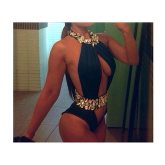 swimwear black bikini jewels monokini
