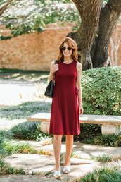 themiddlepage,blogger,dress,shoes,bag,sandals,red dress,summer outfits