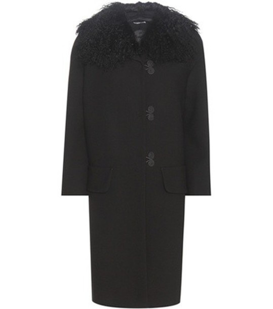coat wool coat fur wool black