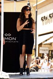 skirt,all black everything,slit skirt,top,crop tops,booties,summer outfits,sunglasses,demi lovato,shoes