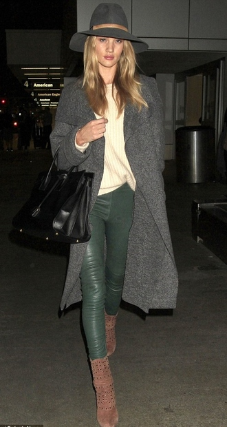 boots rosie huntington-whiteley leather leggings fall outfits forest green