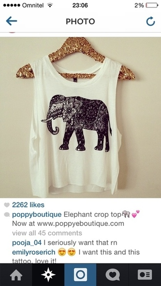 elephant elephant print t-shirt crop tops white white t-shirt black black elephant clothes top cut out top tank top cut out tank top white tank top