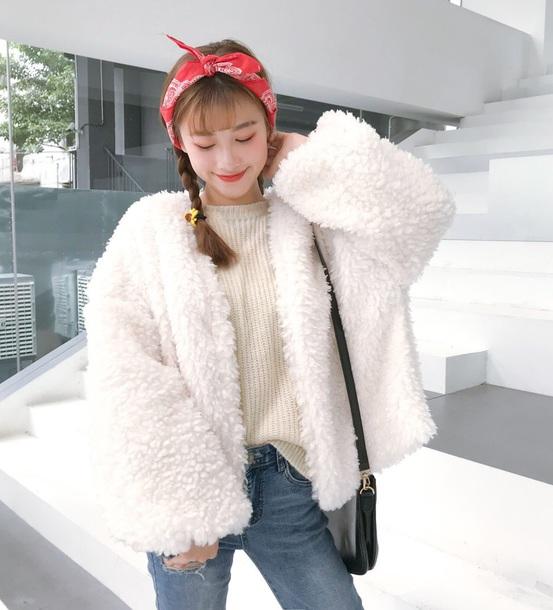coat girly white fur fur coat fur jacket