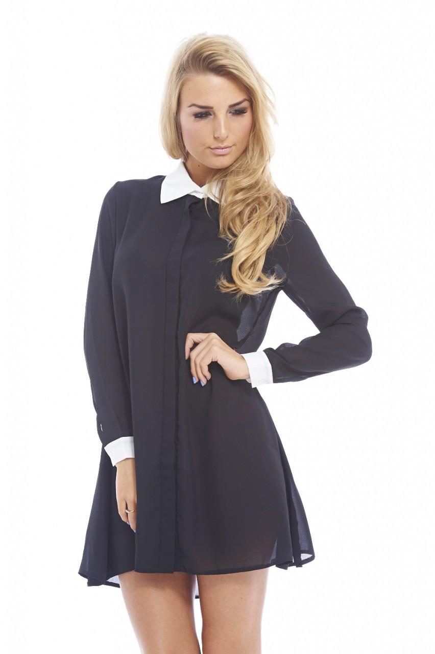 Black & Cream Contrast Cuff Collar Long Sleeve Blouse Dress