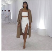 skirt,slit skirt,midi skirt,white,hite dress,white dress,bandeau,strapless,strapless dress,two piece dress set,slit dress,bodycon,bodycon dress,party dress,sexy party dresses,sexy,sexy dress,party outfits,sexy outfit,summer dress,summer outfits,spring outfits,fall dress,fall outfits,classy dress,elegant dress,cocktail dress,cute dress,girly dress,date outfit,birthday dress,clubwear,club dress,homecoming,homecoming dress,wedding clothes,wedding guest,engagement party dress,prom,prom dress,short prom dress,white prom dress,romantic dress,romantic summer dress,celebrities in white,summer holidays,pool party