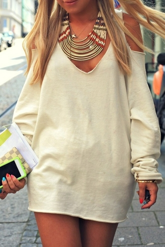 dress sweater nude cream fashion fall outfits style cute girly casual off the shoulder long sleeves