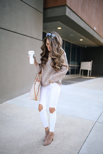 southern curls and pearls blogger sweater pants shoes louis vuitton bag fall outfits booties ankle boots white pants