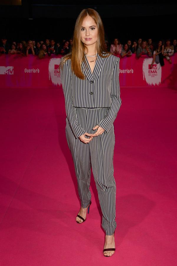 shoes debby ryan celebrity pants blazer suit stripes
