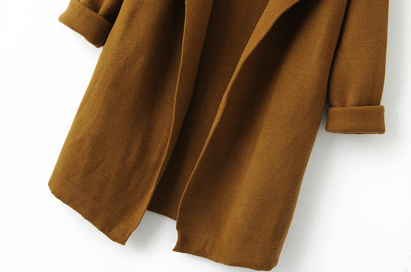 Coffee Lapel Long Sleeve Loose Knit Cardigan - Sheinside.com