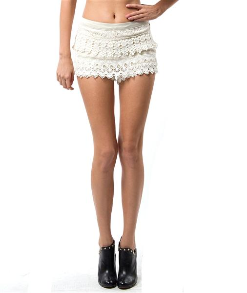 White Boho Side Zip Crochet Multi Layered Lace Shorts Hot Pants | eBay