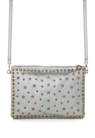 bag gold rivet stars studded clutch silver