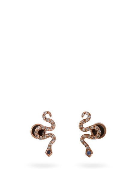 Ileana Makri - Little Snake 18kt Rose Gold And Sapphire Earrings - Womens - Gold