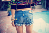 shorts,blue,jeans,sweater,legs,bracelets,true religion,back,pockets,colorful,jacket