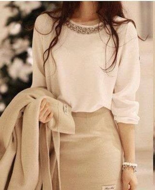 blouse skirt beige cream jacket white blouse sweater blose collared shirts business casual dress ivory white top beaded embroidered classy classic clean chic korean fashion pretty cute top little sparkle cute