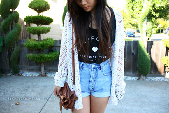 white cardigan cardigan white shirt outfit black tank top perforated white cardigan ootd black tank top high waisted shorts