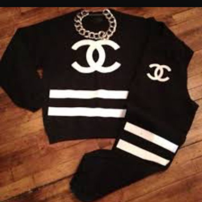 coco chanel sweater jumpsuit coco chanel sweatsuit sweater chanel. Black Bedroom Furniture Sets. Home Design Ideas