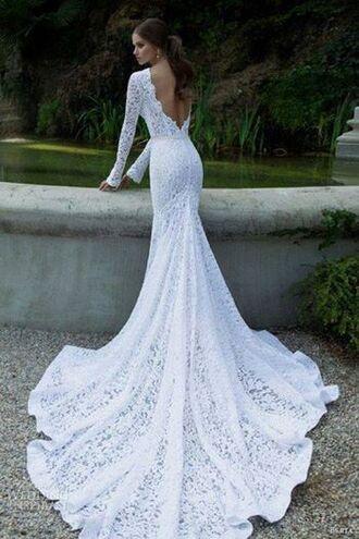 wedding dress white lace dress train dress lace wedding dress dress white dress lace dress pretty white wedding dress lace with sleeves  and backless