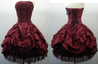 dress victorian dress goth corset dress red dress corset sleevless prom dress cute cute dress short dress short prom dress burgundy tim burton-ish statement gothic dress clothes lace dress red sleeveless dress goth dress black dress emo emo dress dark black goth dress burgundy dress