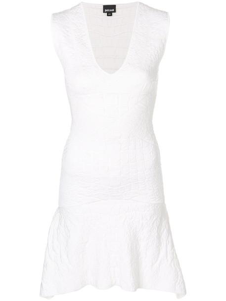 just cavalli dress women spandex white