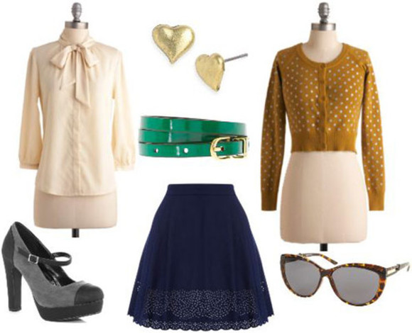 shoes pumps blouse cardigan skirt belt sunglasses earrings