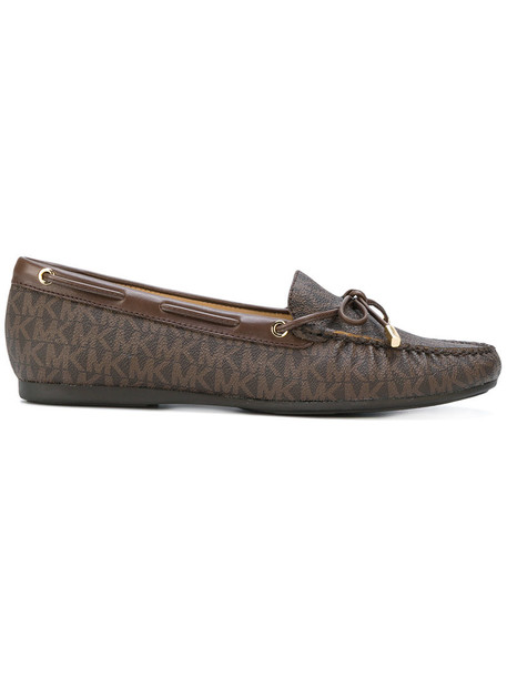 MICHAEL Michael Kors women loafers leather print brown shoes
