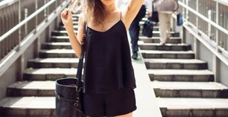 tank top black tumblr dress dress hippie blouse all black everything black outfit cute outfits summer outfits black blouse sunglasses black sunglasses top spaghetti strap spaghetti strap top black top shorts black shorts bag black bag