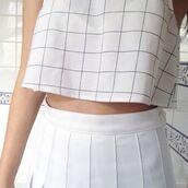 top,black and white blouse,plaid shirt,white t-shirt,grunge top,plaid crop tops,skirt,t-shirt,style,grunge,plaid,crop tops,cropped sweater