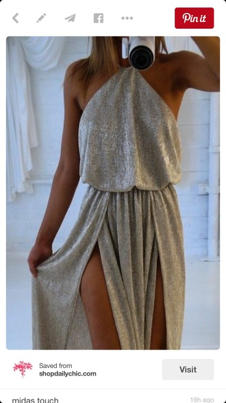 dress halter top double slit dress grey dress