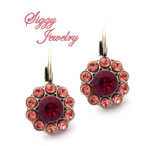 395871331 Swarovski Crystal Daisy Flower Earrings, Siam Ruby Red, Rose Peach Petals,  Antique Silver Finish, Drop Levers, ...