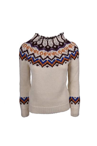 LOEWE sweater jacquard white multicolor