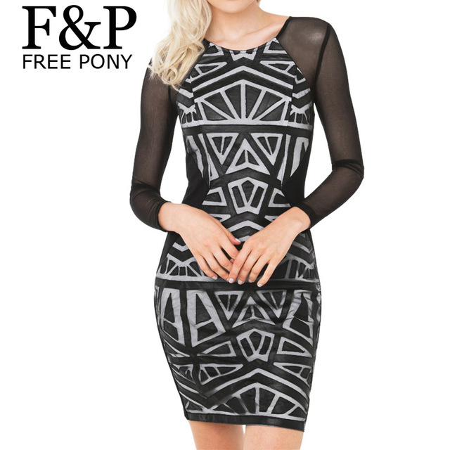 Aliexpress.com : Buy 2016 summer Geo Aztec Leather Bandage mini Dress Geometric Print Sleeve Mesh Bodycon Dress from Reliable dress white dress suppliers on Pelum Factory Outlet | Alibaba Group