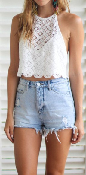 summer top top crop tops white lacey blouse beauty