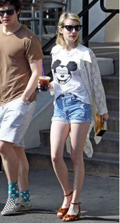 sandals,spring outfits,cardigan,emma roberts,shorts,denim shorts,mickey mouse