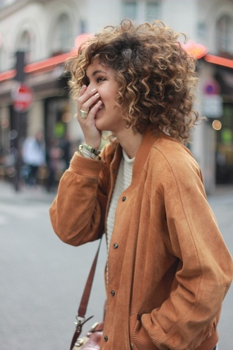 jacket marron loose carmel jacket spring outfits coat tan leather tumblr suede tan suede leather coat leather jacket tan leather tan coat tan jacket suede coat suede jacket college back to school fall colors curly hair natural hair bomber jacket fall jacket