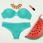 swimwear,light blue,bag,jewels,nail polish