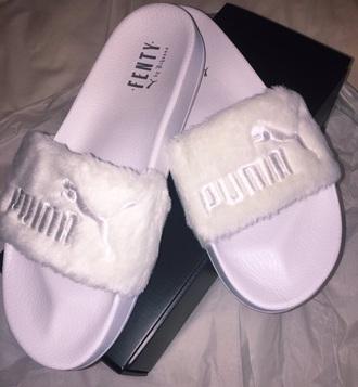 shoes pink fur slide shoes fenty puma