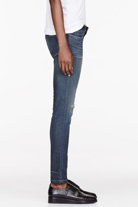 Iro Navy Faded & Distressed Jeans for women | SSENSE