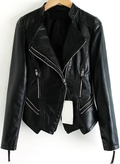 Black Long Sleeve Zipper Pockets Crop Jacket - Sheinside.com
