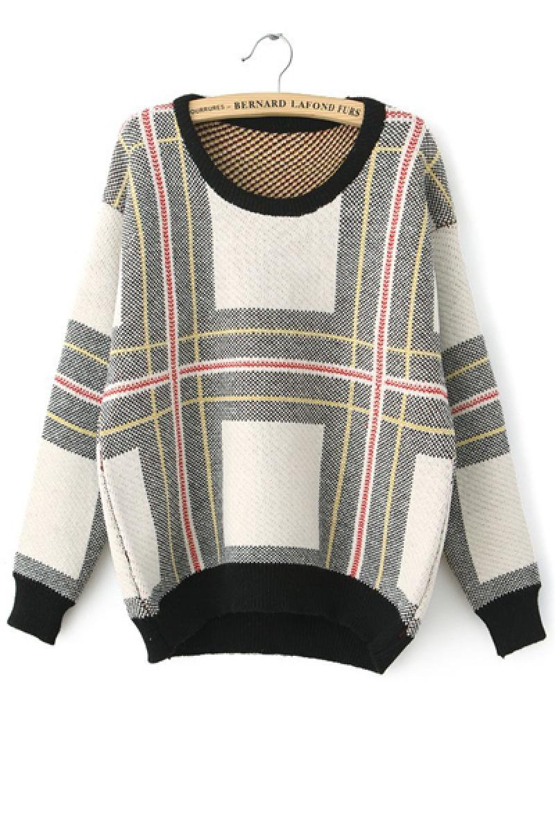 Plaid Stripes Loose Knitted Sweater,Cheap in Wendybox.com