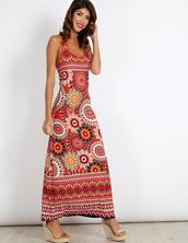 dress,blue vanilla,maxi dress,pattern,patterned dress,orange dress,summer dress,strappy,criss cross,summer outfits