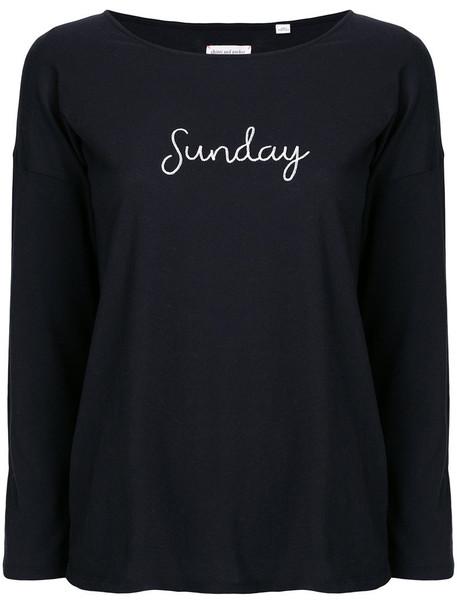 Chinti & Parker - Sunday slogan top - women - Cotton - L, Blue, Cotton