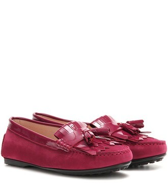 moccasins leather suede pink shoes