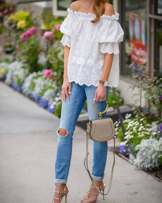 top bag tumblr white top off the shoulder top off the shoulder denim jeans blue jeans ripped jeans sandals sandal heels high heel sandals shoes