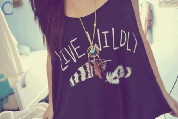 t-shirt indian ring jewels swag clothes shirt cute live wildly wild crop tops crop necklace dream catcher necklace feather shirt
