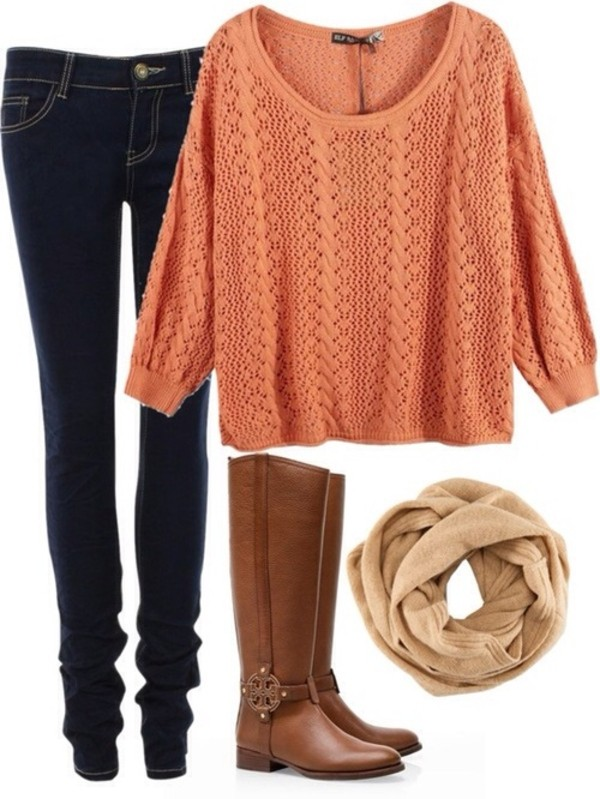 sweater jeans shoes brown leather boots pink sweater