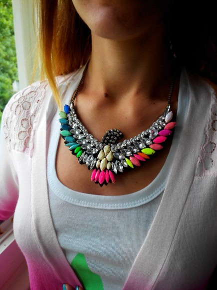 jewels silver pearl necklace eagle anima animals gems vintage multi colored rhinestones statement necklace