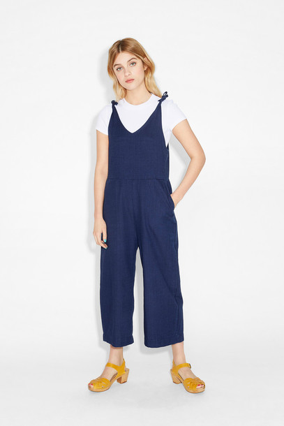 jumpsuit denim denim overalls tie-front top overalls monki v neck